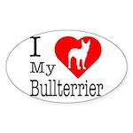I Love My Bullterrier Sticker (Oval 10 pk)
