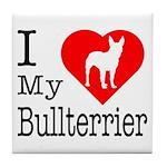 I Love My Bullterrier Tile Coaster