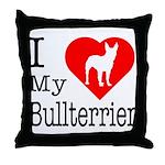 I Love My Bullterrier Throw Pillow