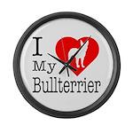 I Love My Bullterrier Large Wall Clock