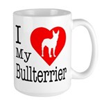 I Love My Bullterrier Large Mug