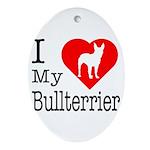 I Love My Bullterrier Ornament (Oval)