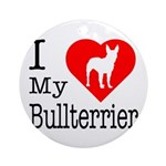 I Love My Bullterrier Ornament (Round)