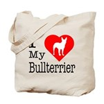 I Love My Bullterrier Tote Bag