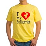 I Love My Bullterrier Yellow T-Shirt