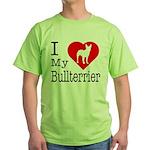 I Love My Bullterrier Green T-Shirt