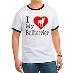 I Love My Bullterrier Ringer T