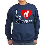 I Love My Bullterrier Sweatshirt (dark)