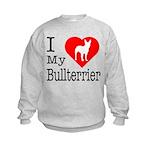 I Love My Bullterrier Kids Sweatshirt
