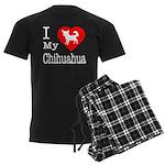 I Love My Chihuahua Men's Dark Pajamas