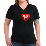 I Love My Chihuahua Women's V-Neck Dark T-Shirt