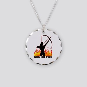 HG Girl on fire Necklace Circle Charm