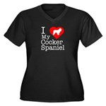 I Love My Cocker Spaniel Women's Plus Size V-Neck