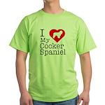 I Love My Cocker Spaniel Green T-Shirt