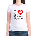 I Love My Cocker Spaniel Jr. Ringer T-Shirt