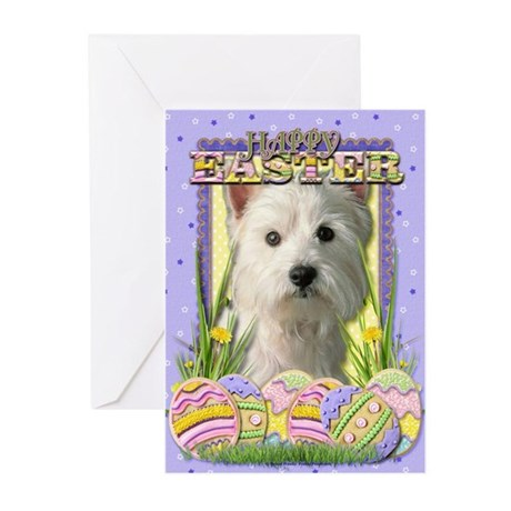 Easter Egg Cookies - Westie Greeting Cards (Pk of