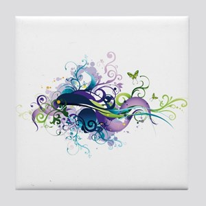 Floral Butterfly abstract Tile Coaster