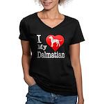 I Love My Dachshund Women's V-Neck Dark T-Shirt
