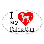 I Love My Dalmatian Sticker (Oval 50 pk)