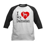 I Love My Dalmatian Kids Baseball Jersey