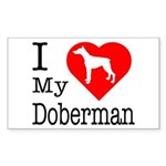 I Love My Doberman Pinscher Sticker (Rectangle 10