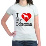 I Love My Doberman Pinscher Jr. Ringer T-Shirt