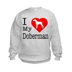 I Love My Doberman Pinscher Kids Sweatshirt