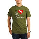 I Love My Fox Terrier Organic Men's T-Shirt (dark)