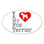 I Love My Fox Terrier Sticker (Oval 50 pk)