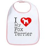 I Love My Fox Terrier Bib