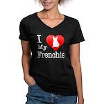 I Love My Frenchie Women's V-Neck Dark T-Shirt