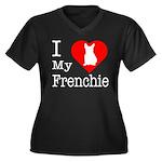 I Love My Frenchie Women's Plus Size V-Neck Dark T