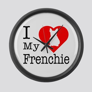 I Love My Frenchie Large Wall Clock