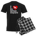 I Love My German Shepherd Men's Dark Pajamas