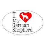 I Love My German Shepherd Sticker (Oval)