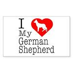 I Love My German Shepherd Sticker (Rectangle 10 pk