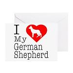 I Love My German Shepherd Greeting Cards (Pk of 20