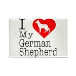 I Love My German Shepherd Rectangle Magnet (100 pa