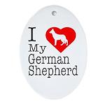 I Love My German Shepherd Ornament (Oval)