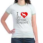 I Love My German Shepherd Jr. Ringer T-Shirt