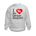I Love My German Shepherd Kids Sweatshirt