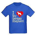 I Love My German Shepherd Kids Dark T-Shirt