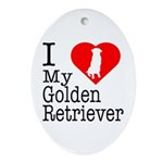I Love My Golden Retriever Ornament (Oval)