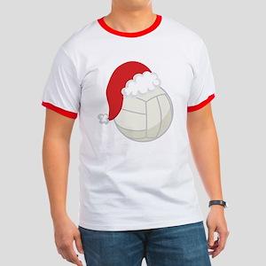 Volleyball Santa Gift Ringer T