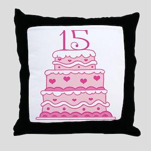 15th Anniversary Cake Throw Pillow