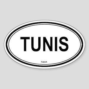 Tunis, Tunisia euro Oval Sticker