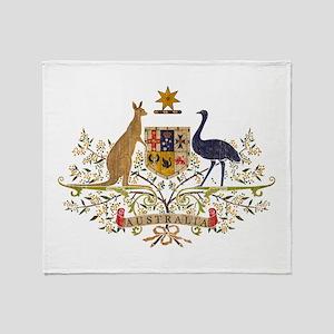 Vintage Australia Coat Of Arms Throw Blanket