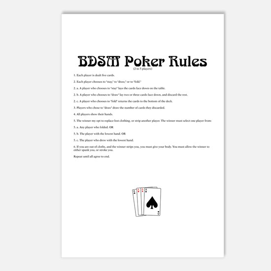 BDSM Poker Rules Postcards (Package of 8)