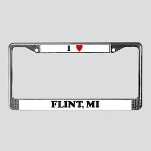 I Love Flint License Plate Frame