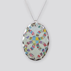 Colorful patchwork quilt Necklace Oval Charm